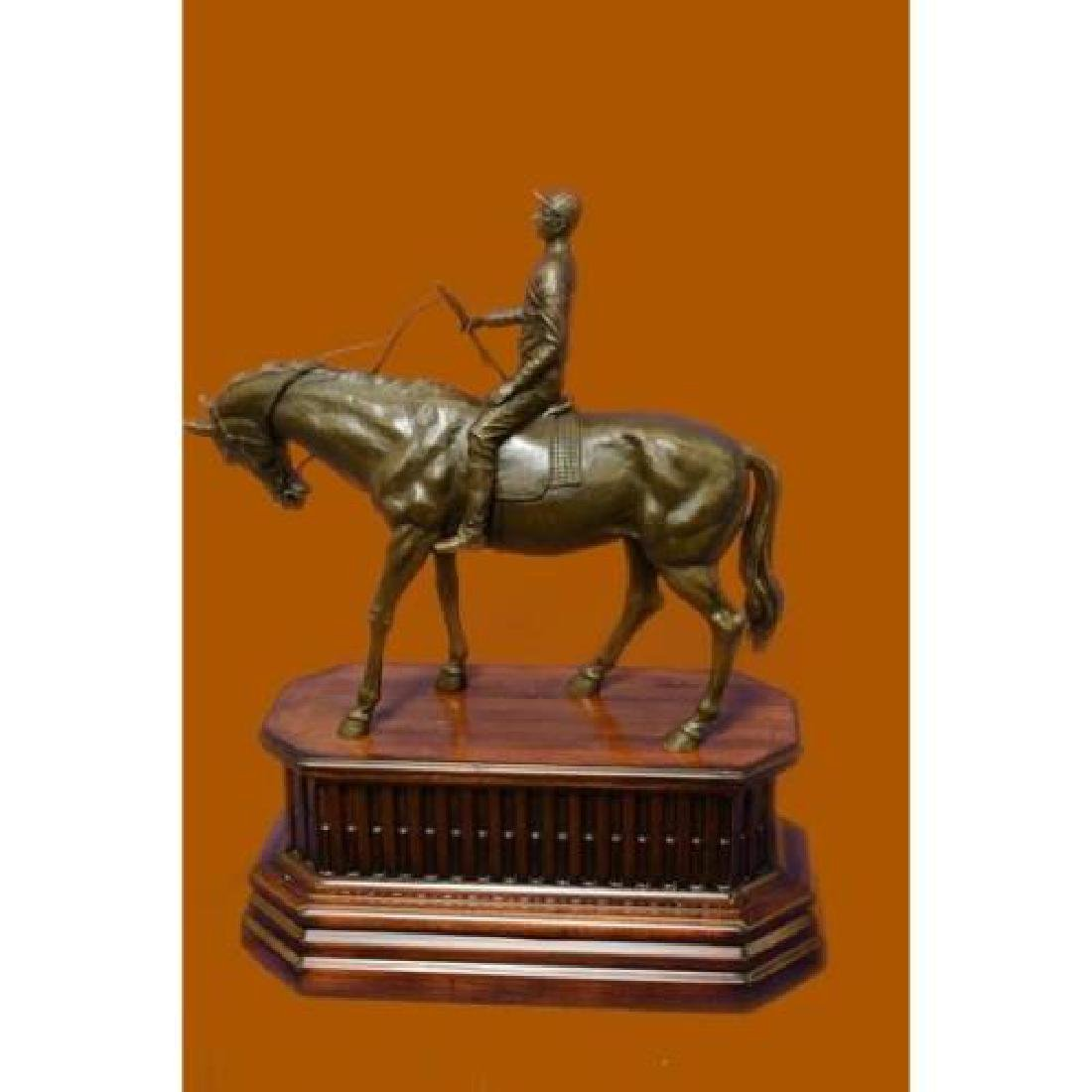 Jockey Riding Horse Bronze Statue on Marble Base