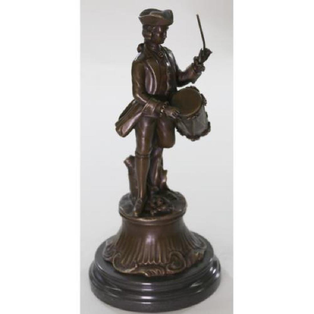 American Civil War Drummer Bronze Figurine