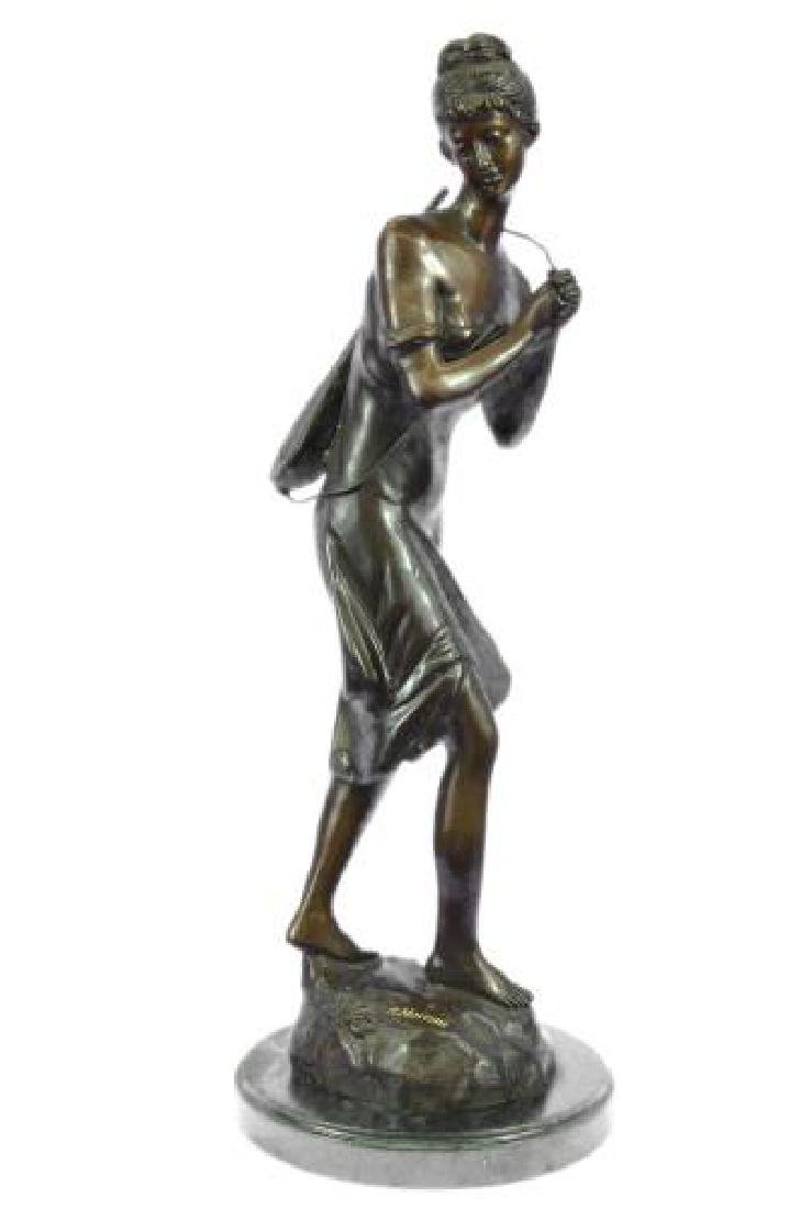 Sexy Girl Playing Old Fashion Guitar Bronze Sculpture