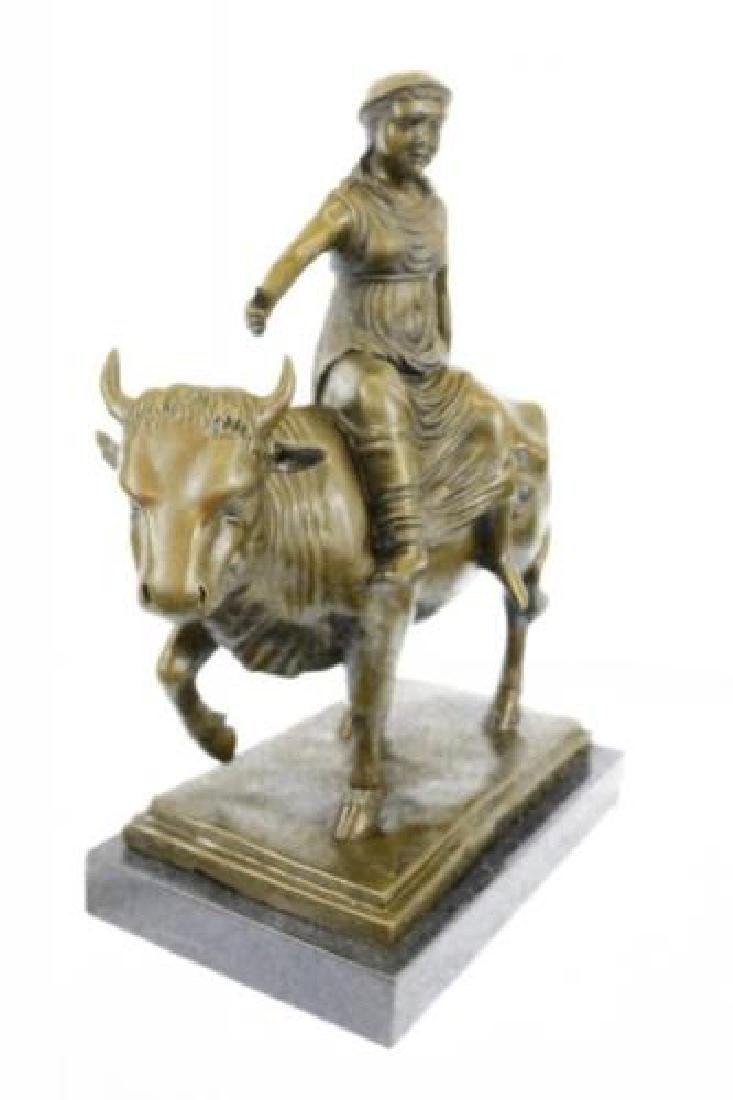 Young Woman Rides a Bull Bronze Statue on Marble Base