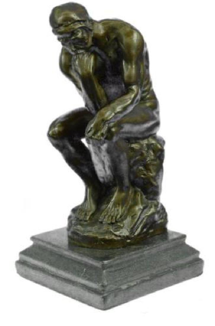 Thinker Bronze Statue on Marble Base Sculpture