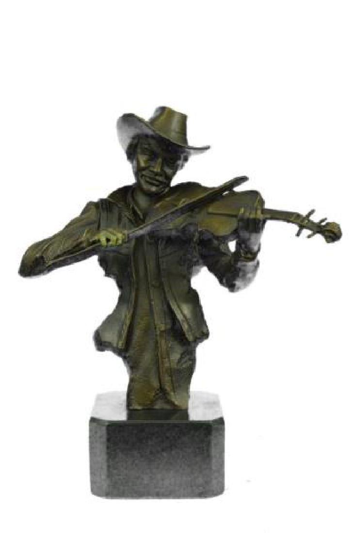 Cowboy Playing Violin Fiddle Music Bronze Sculpture