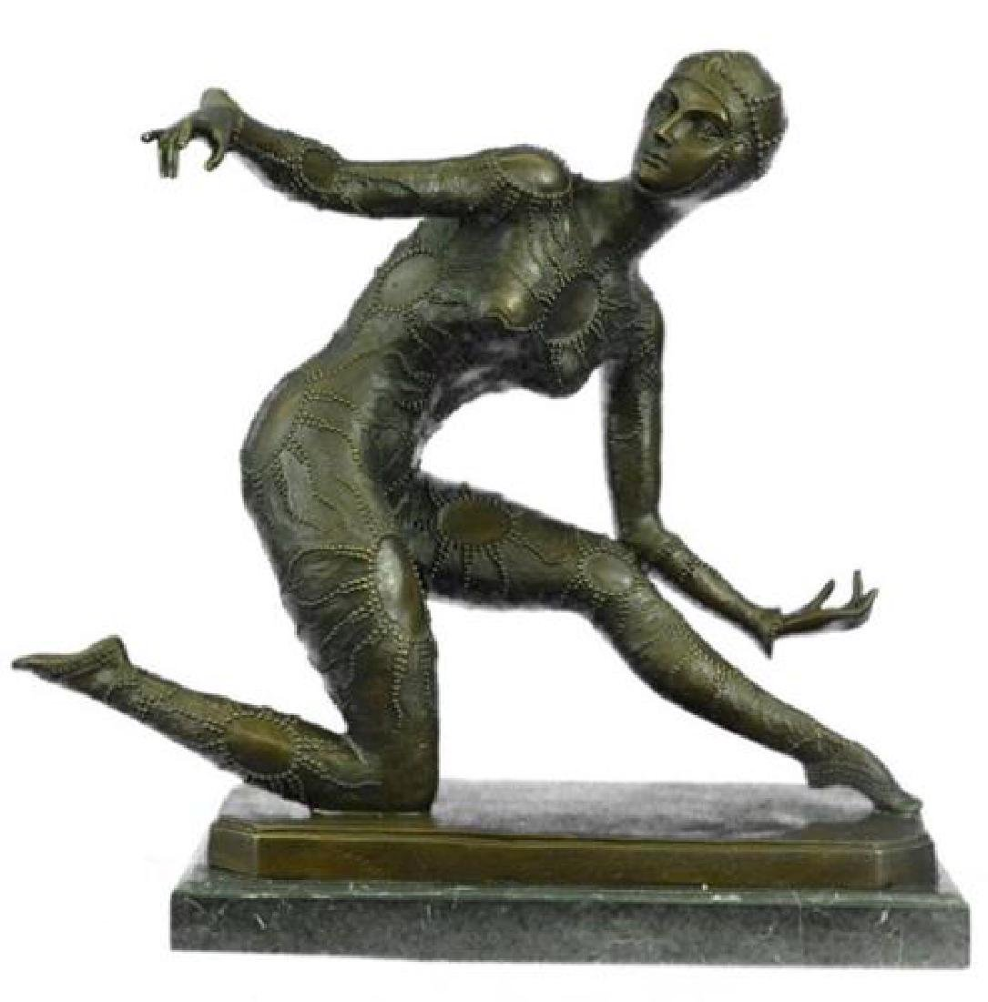 Exotic Dancer Bronze Sculpture on Marble Base Statue