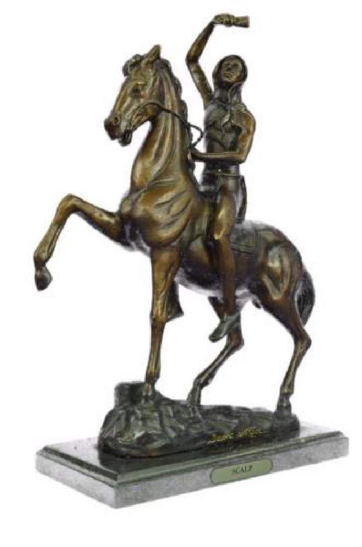 Man on Horse The Scalp Bronze Statue