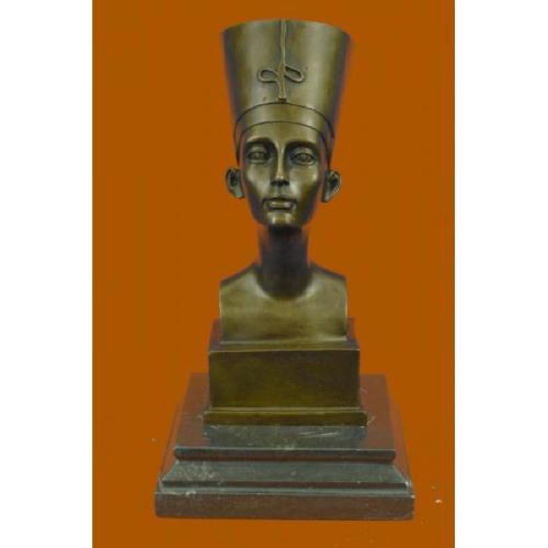 Miniature Nefertiti Bust Egyptian Queen Bronze