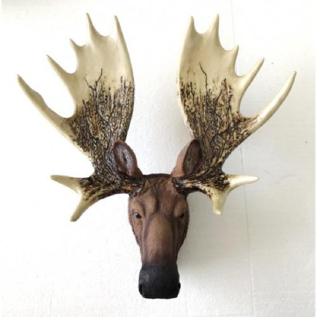 Cold Cast Bronze Moose Head Wall Mount Sculpture