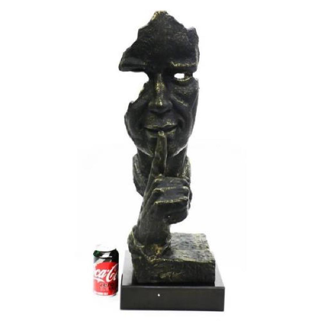 Silence Bronze Sculpture on Marble Base Figurine