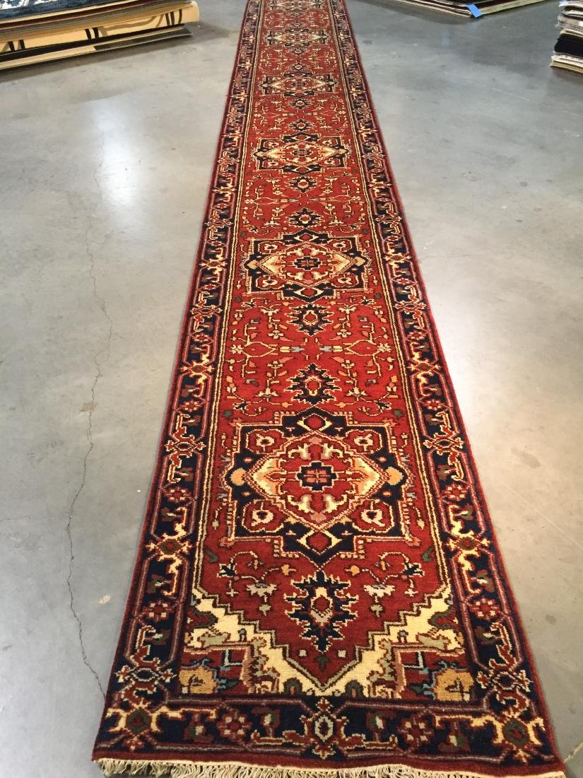 MAGNIFICENT HAND-KNOTTED SERAPI  WOOL RUNNER 2.9x19.9