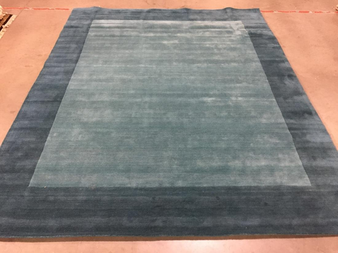 SOLID TWO TONE DESIGN HAND MADE & CARVED WOOL RUG 8x10