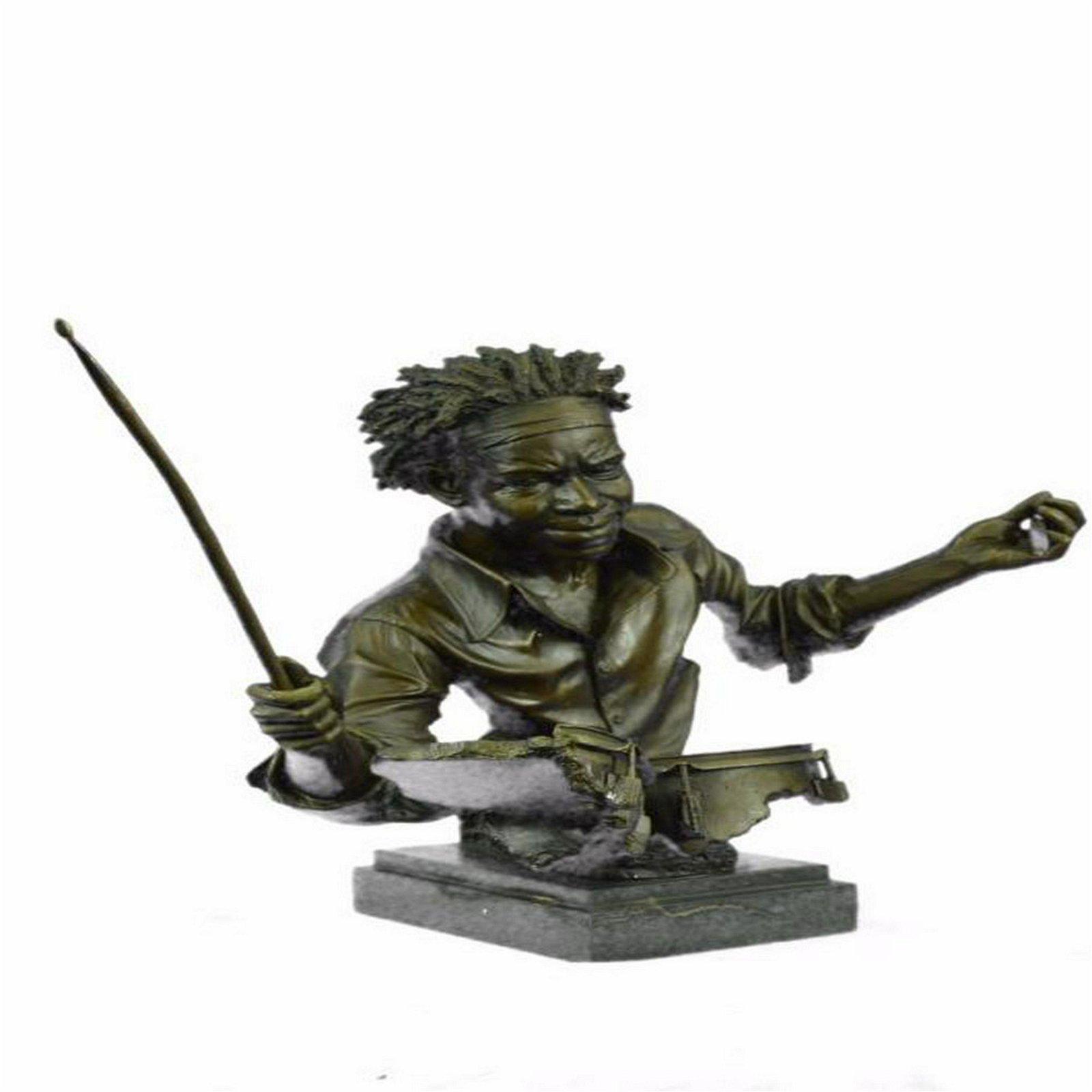 Bronze Drum Set Figurine on Marble Base Statue