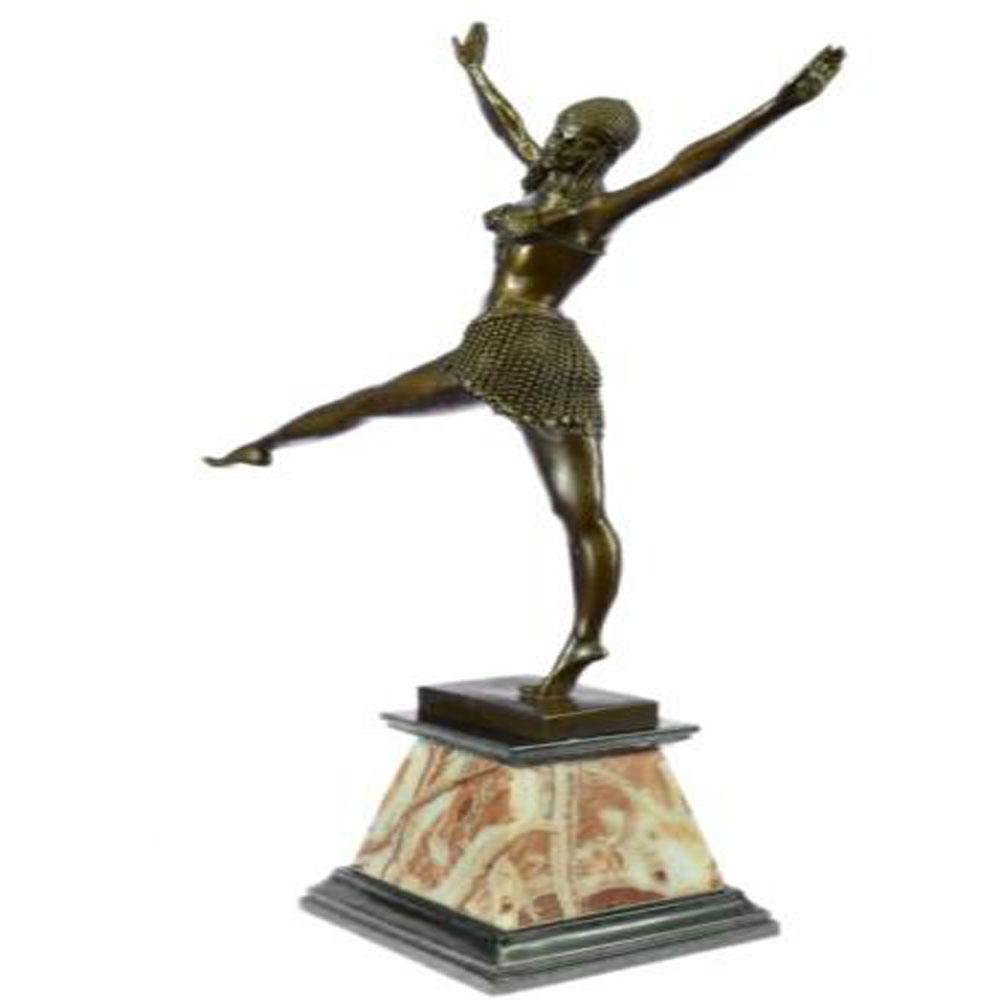 Egyptian Dancer Bronze on Marble Base Statue