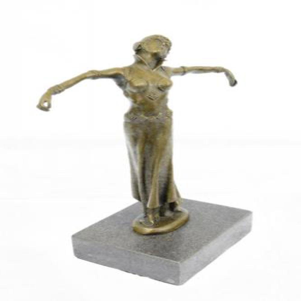 Dancer Bronze Sculpture on Marble Base Figure