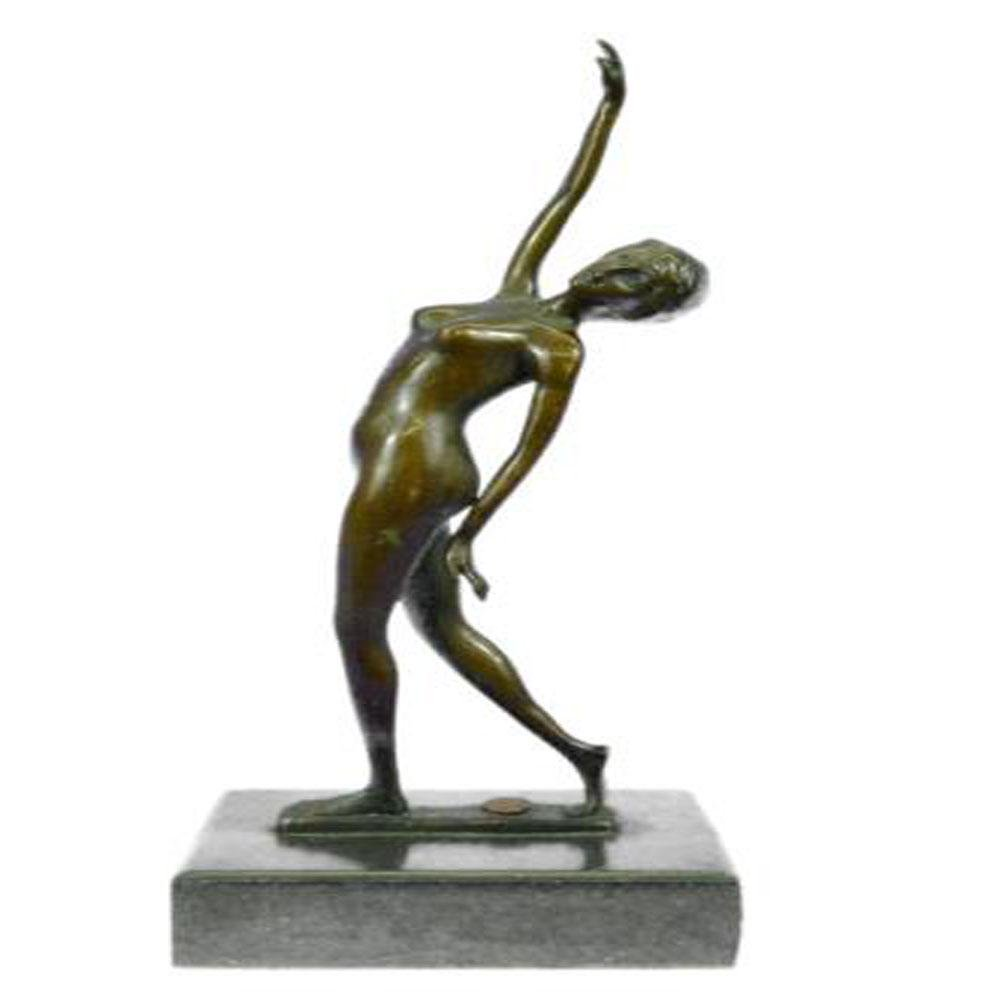 Nude Dancer Posing Bronze Sculpture on Marble Base