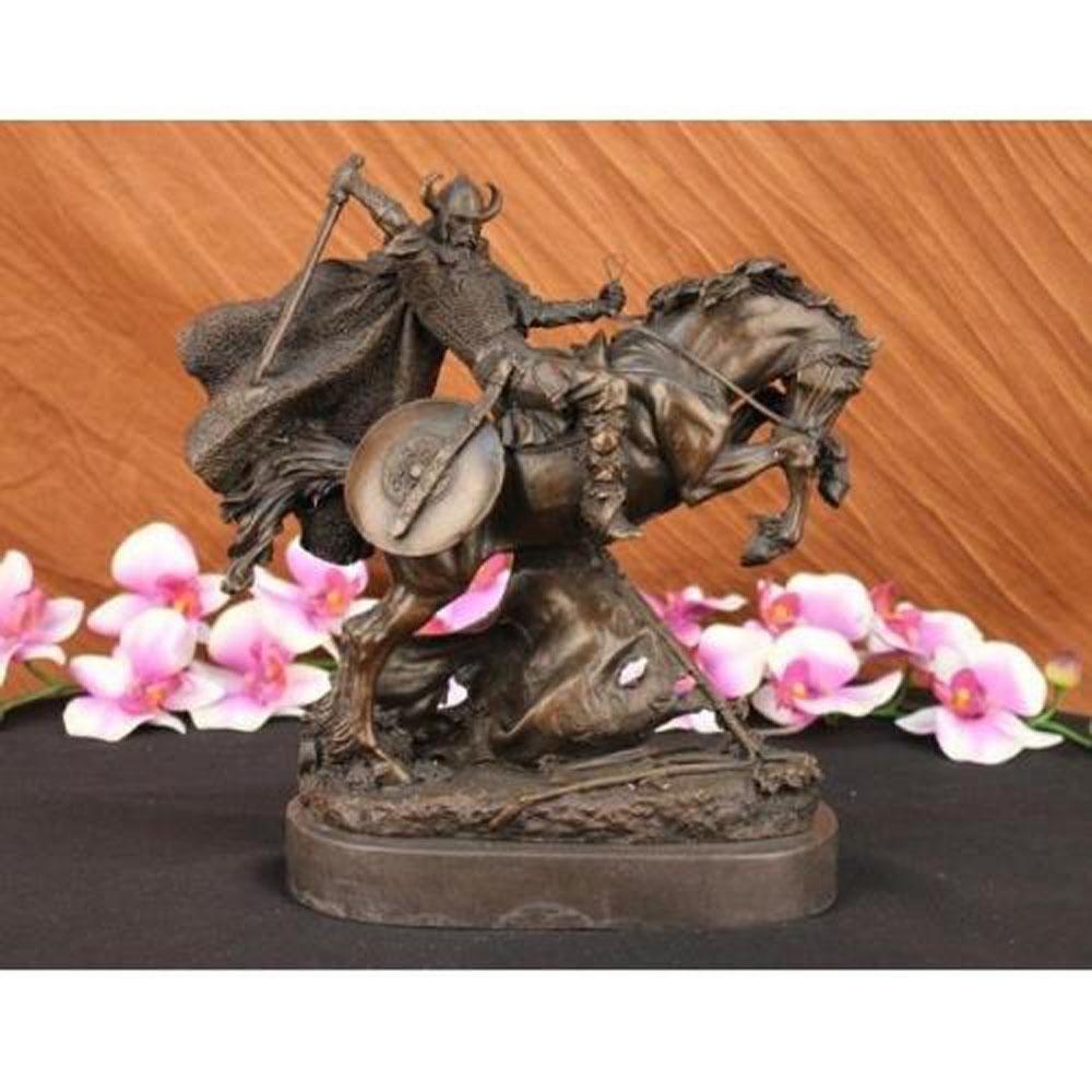 Viking Warrior on Horse Bronze Sculpture