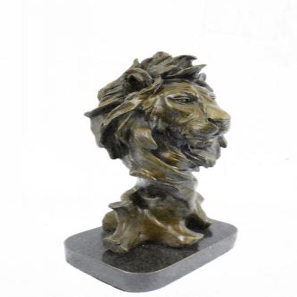 African Male Lion Bust Bronze Statue on Marble Base