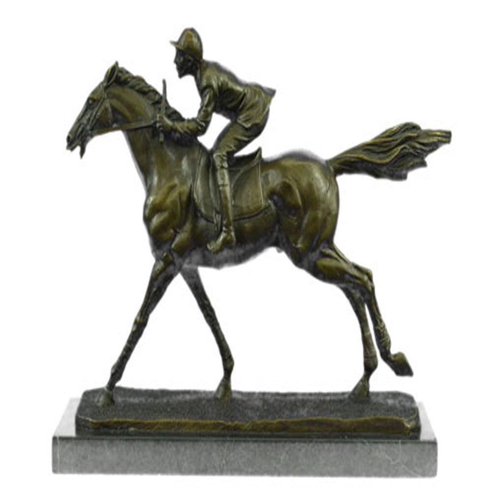 Jockey on Race Horse Bronze Sculpture