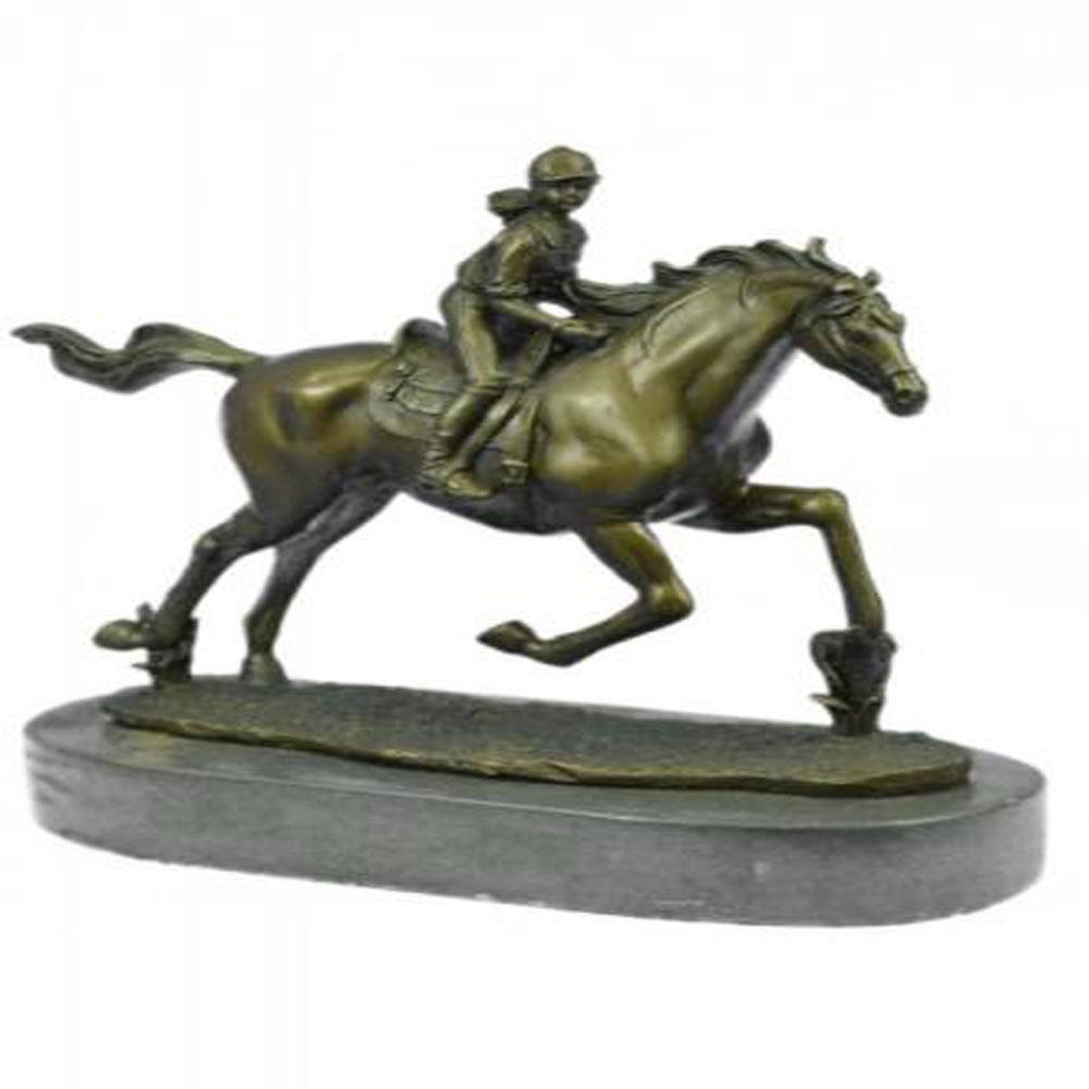 Art Deco Western Art Girl Jockey Racing Horse Bronze