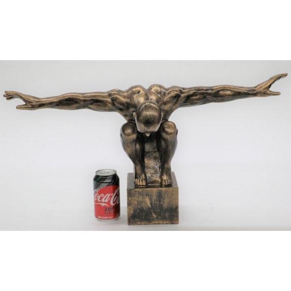Nude Swimmer Cold Cast Bronze Sculpture