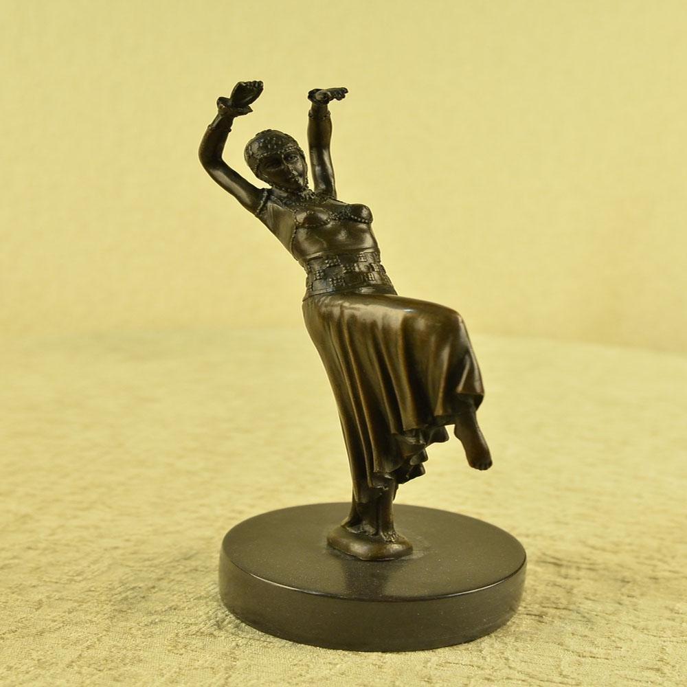 Dancer Lady Bronze Sculpture on Marble Base Statue
