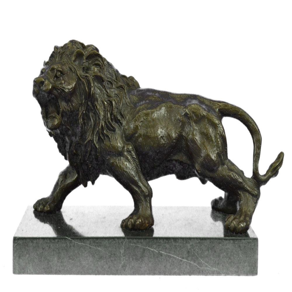 Angry Hungry Male Lion on Marble Base Bronze Sculpture