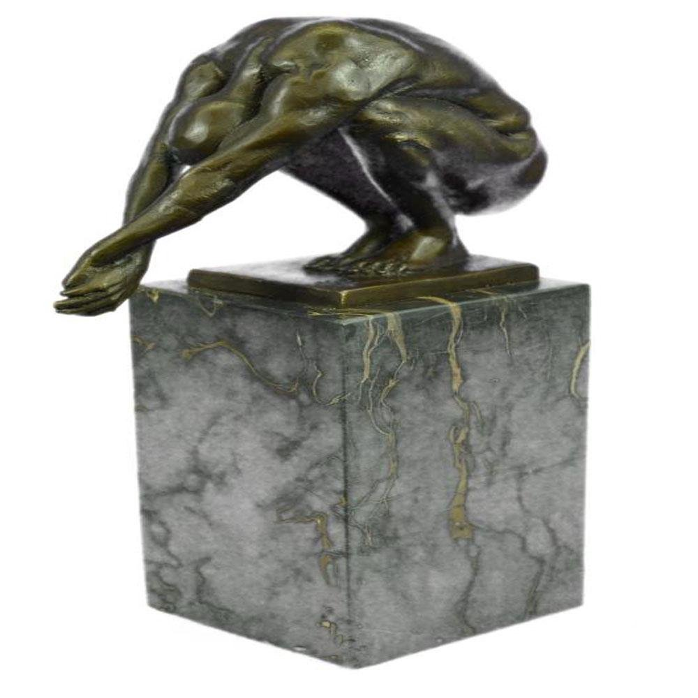 Nude Male Bronze Sculpture on Marble Base Statue