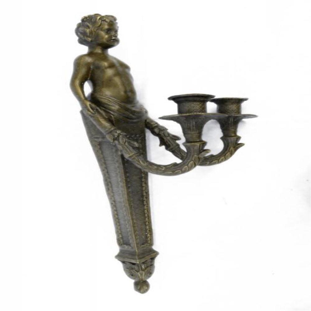 Young Nude Boy Wall Candleholder Bronze Sculpture