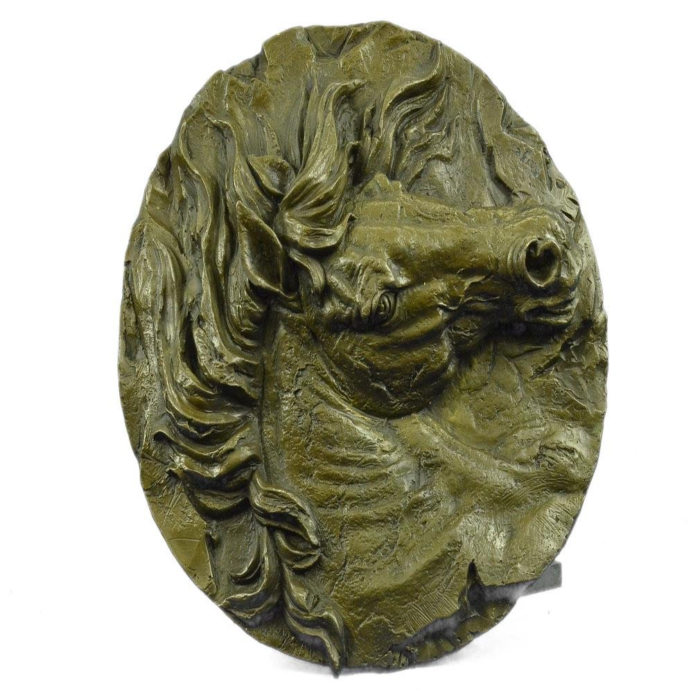 Wall Mount Horse Head Bronze Sculpture