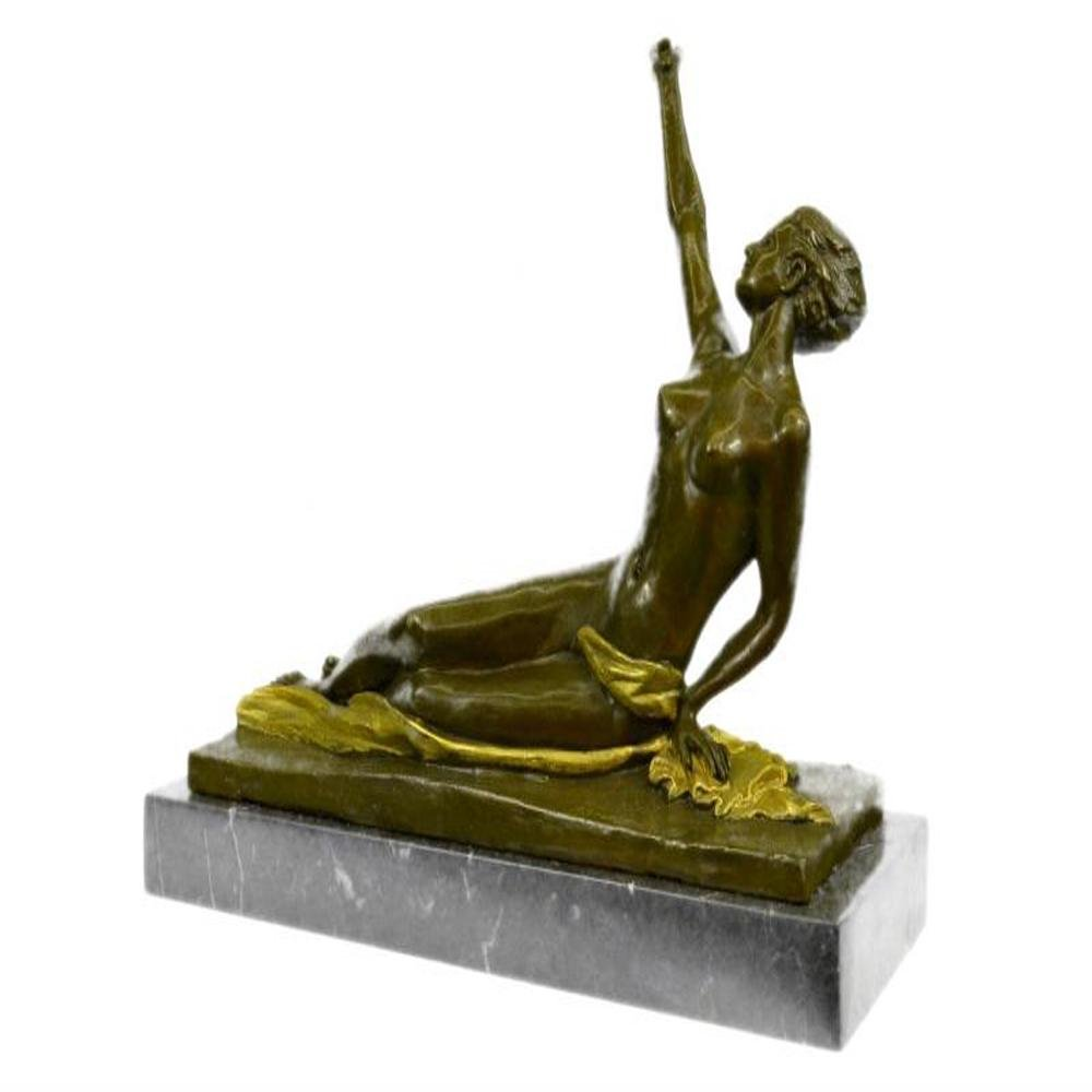 Nude Lady Bronze Sculpture on Marble Base Statue