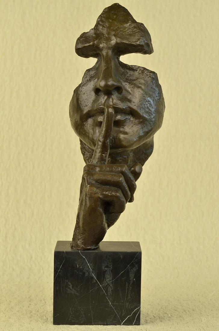 Man Hush Up Bronze Sculpture on Marble Base Figurine