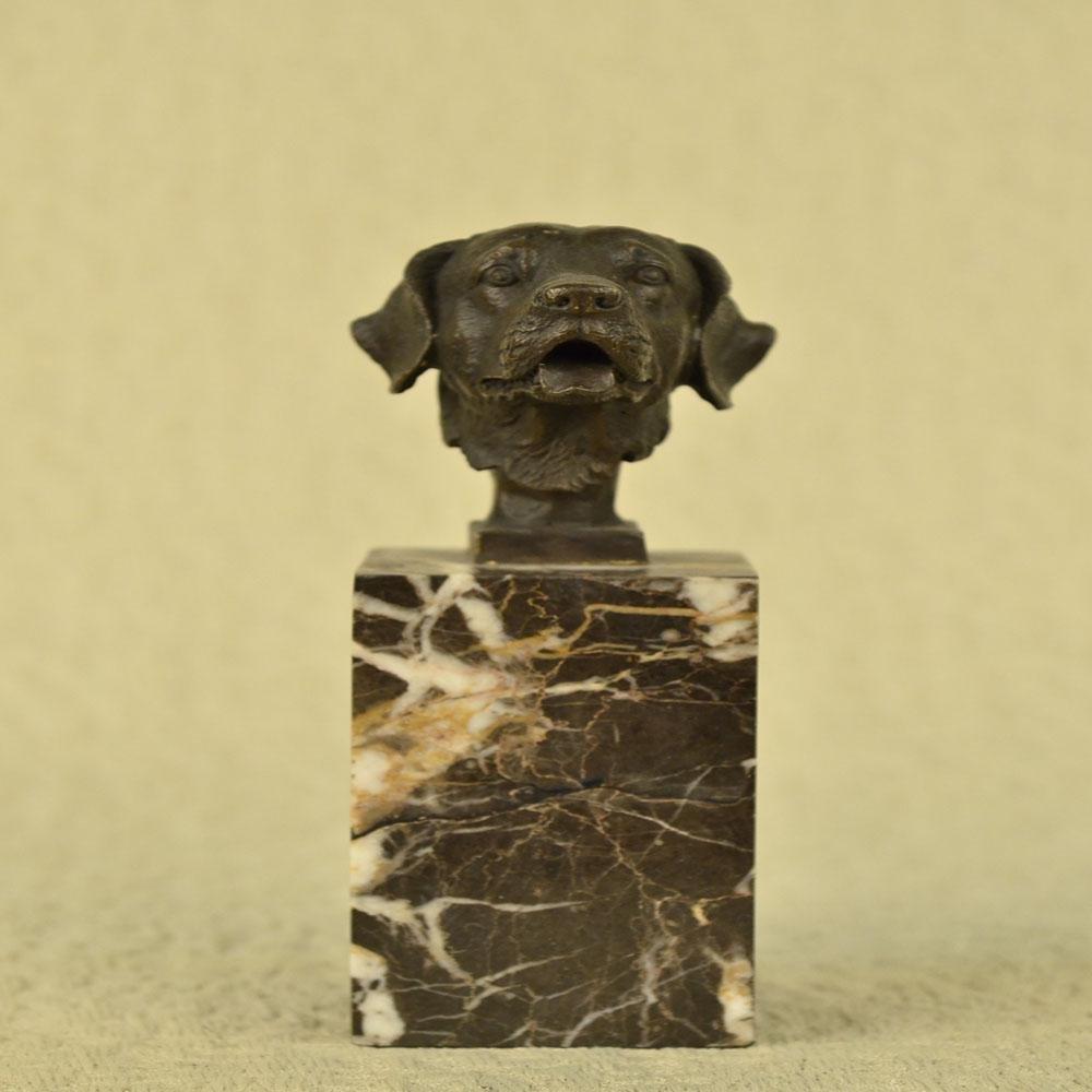 Labrador Retriever Head Bust Bronze Sculpture on Marble