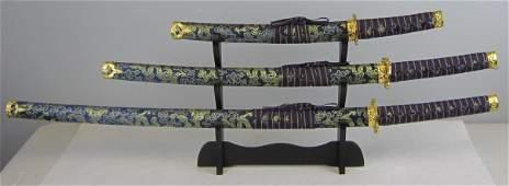 Three pieces Blue Dragon Samurai Sword