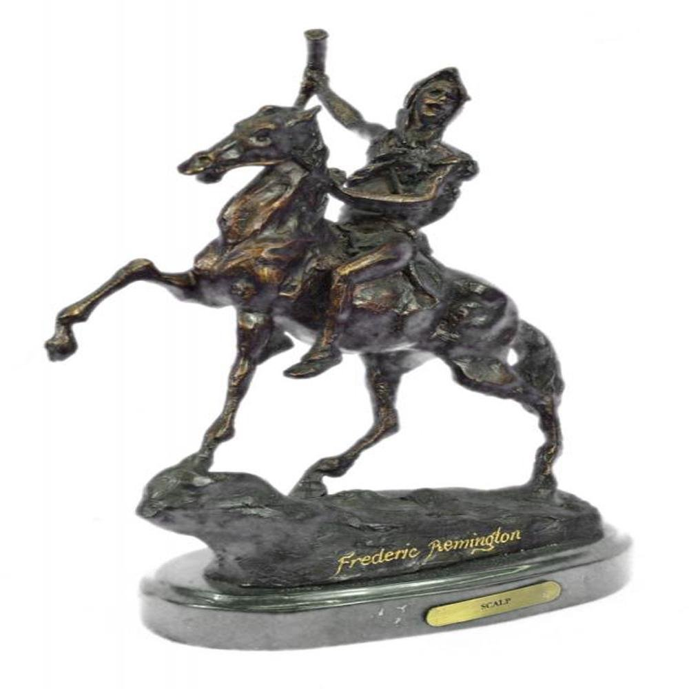 The Scalp Bronze Statue on Marble Base Sculpture