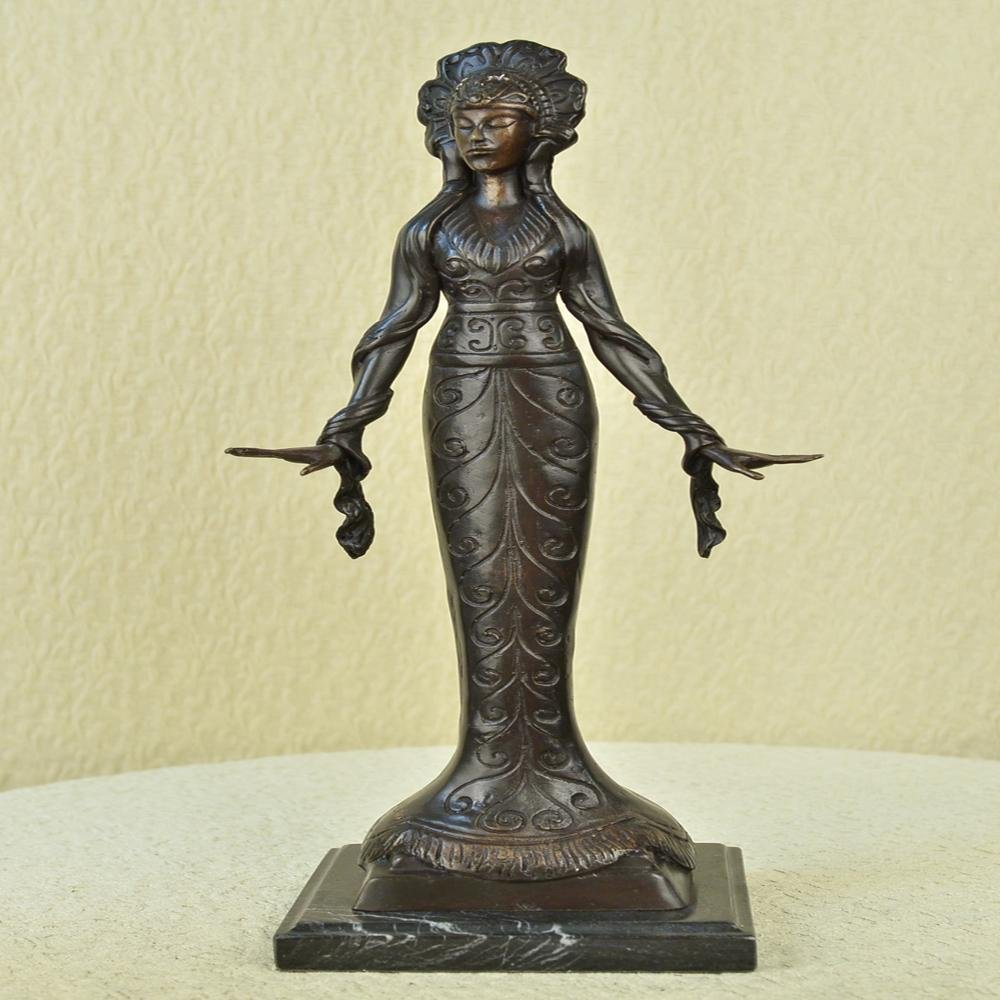 Native American Indian Girl Bronze Statue