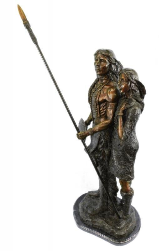 Native American Indian Woman and Her Man Bronze