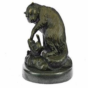 Lion With Cub Bronze Statue on Marble Base