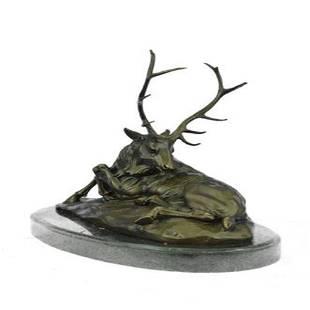 Deer Bronze Sculpture on Marble Base Statue