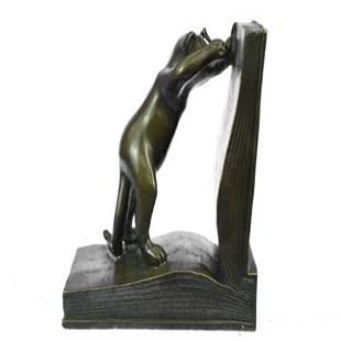 Playful Cat Bookends Bronze Statue