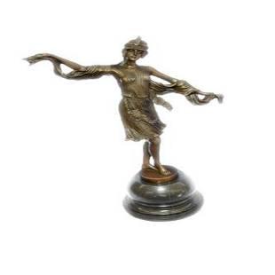 Bronze on Marble Base Dancer Sculpture