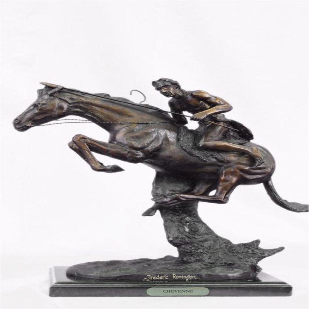 Cheyenne Bronze Sculpture on Marble Base Statue