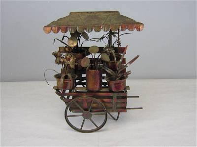 Metal Artwork Flower Cart Sculpture
