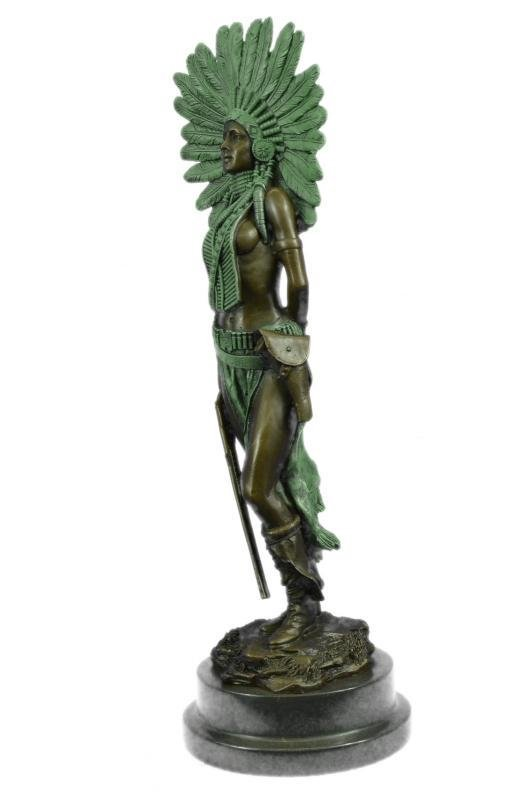 Indian Native American Warrior Bronze Statue
