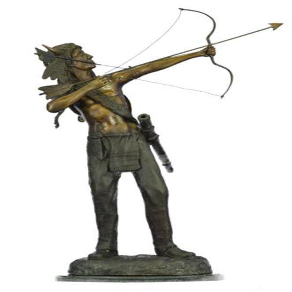 Native American Indian Chief with Bow and Arrow Bronze