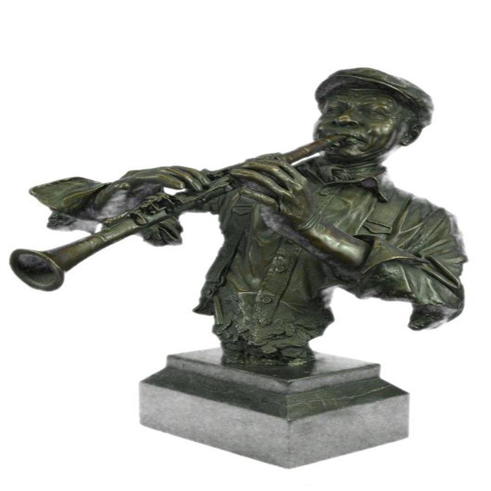 Black African Clarinet Player Bronze Sculpture