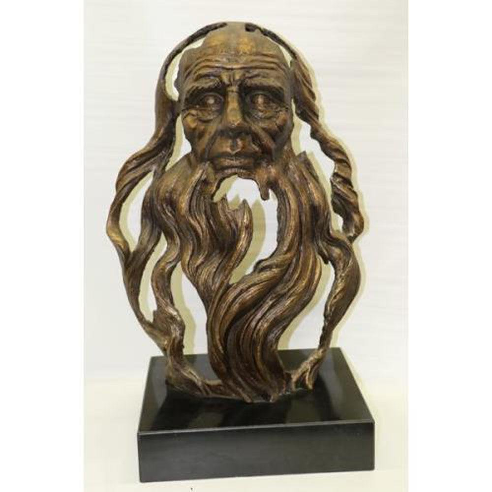 Ancient Head of an Chinese Old Man Bronze Statue