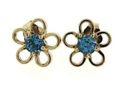 Pleasing Blue Topaz Flower Yellow Gold Earrings