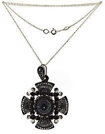 Blue Stone Maltese Cross Pendant on Chain