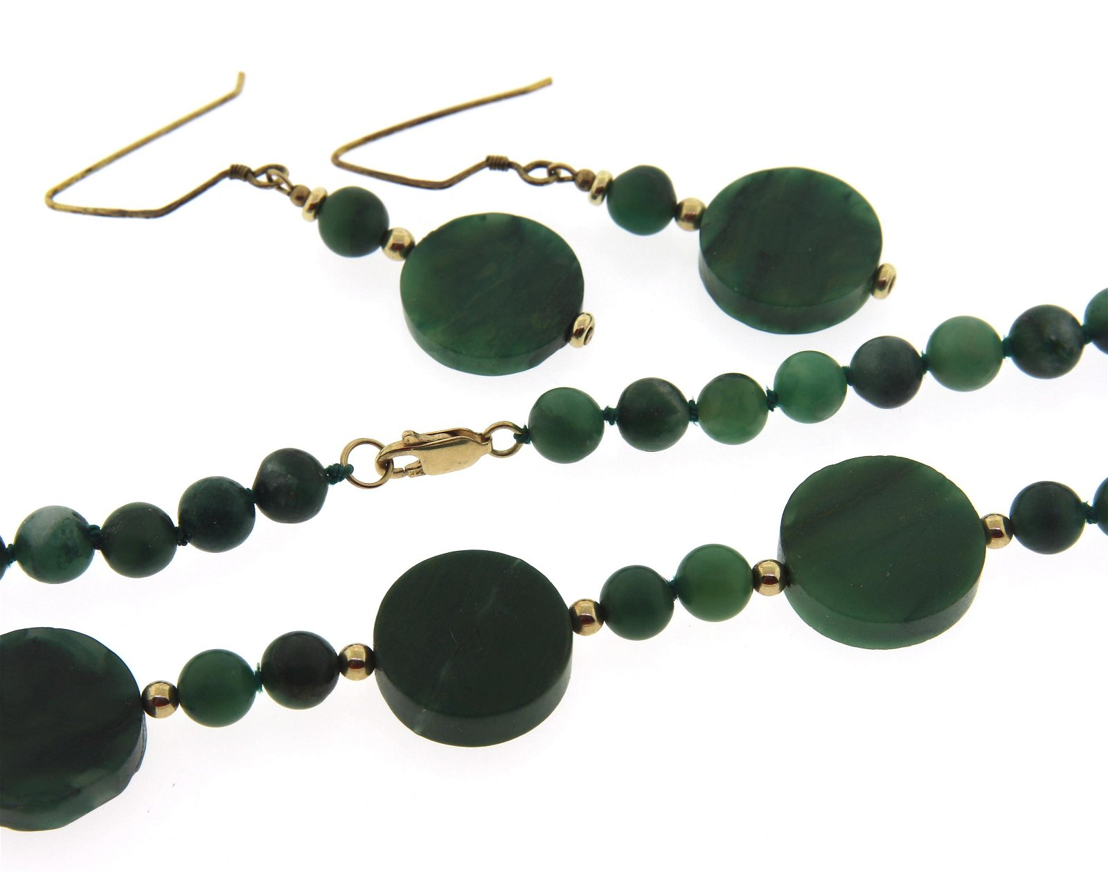 Green Agate Bead Necklace and Dangle Earrings