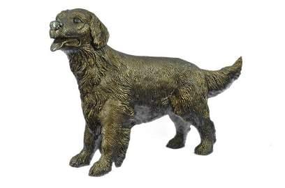 Puppy Golden Retriever Dog Bronze Statue
