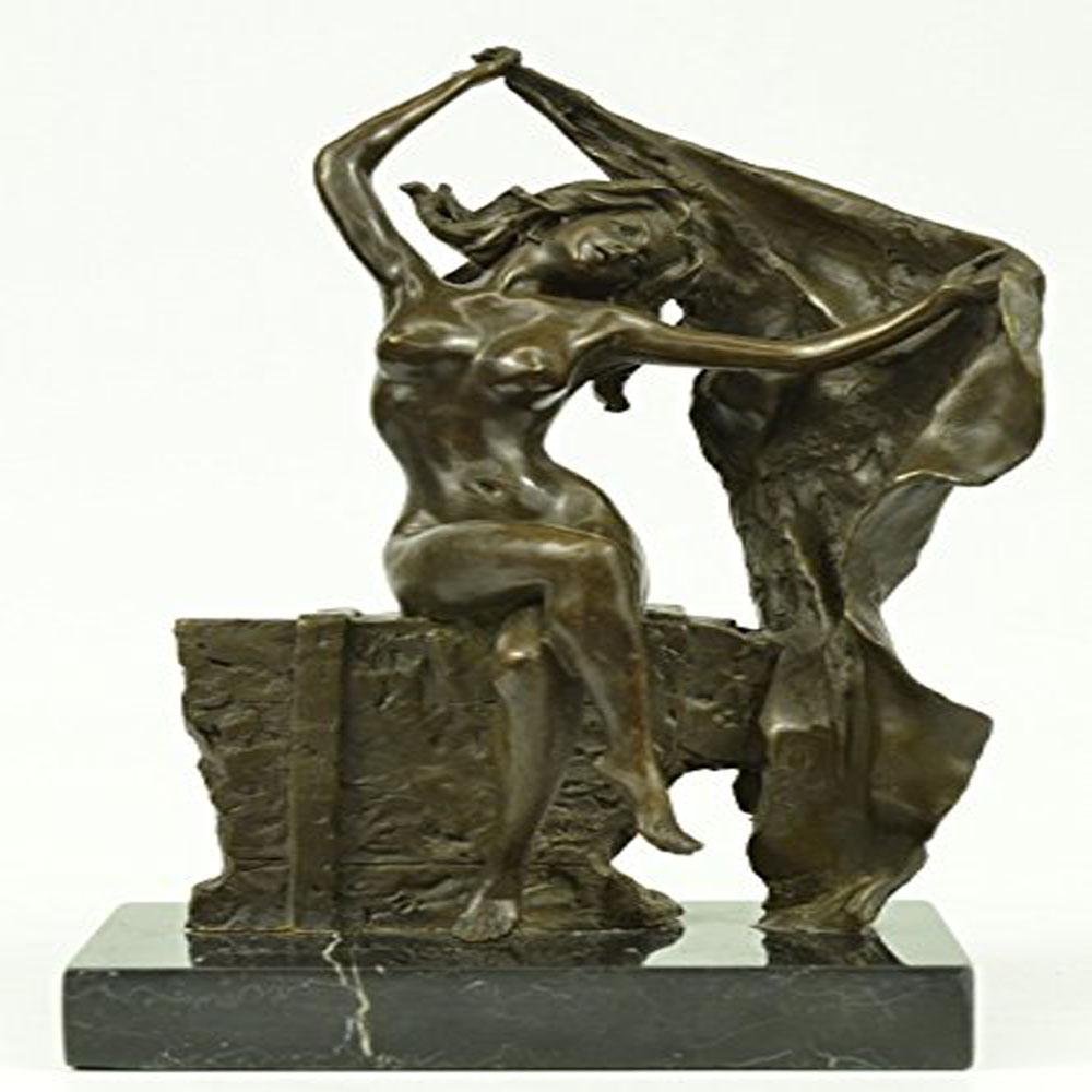 Sexy Lady Bronze on Marble Base Statue