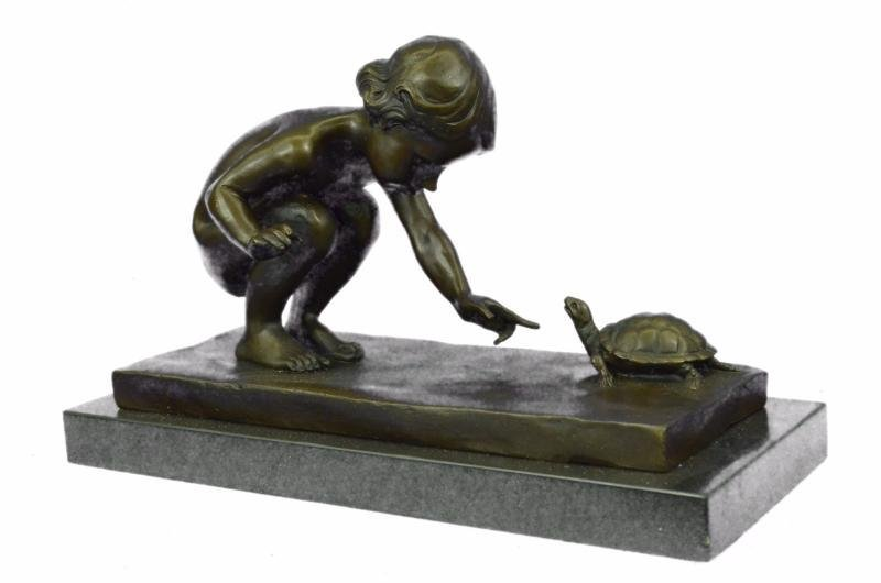Little Girl Playing With Turtle Bronze Sculpture